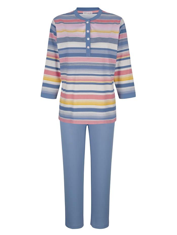 MONA Schlafanzug mit garngefärbtem Oberteil im Ringeldessin, Blau/Lachs/Ecru