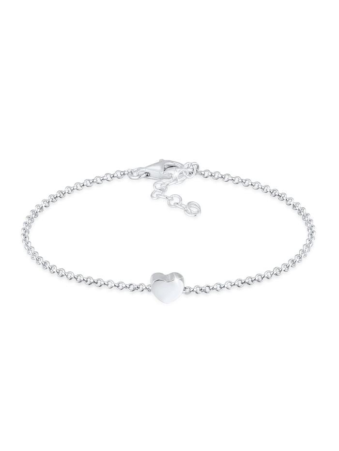Elli Armband Basic Trend Erbskette Herz Love Liebe 925 Silber, Silber