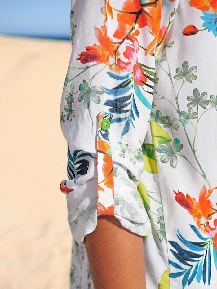 Alba Moda Strandbluse mit Blumendruck, Weiss-Druck