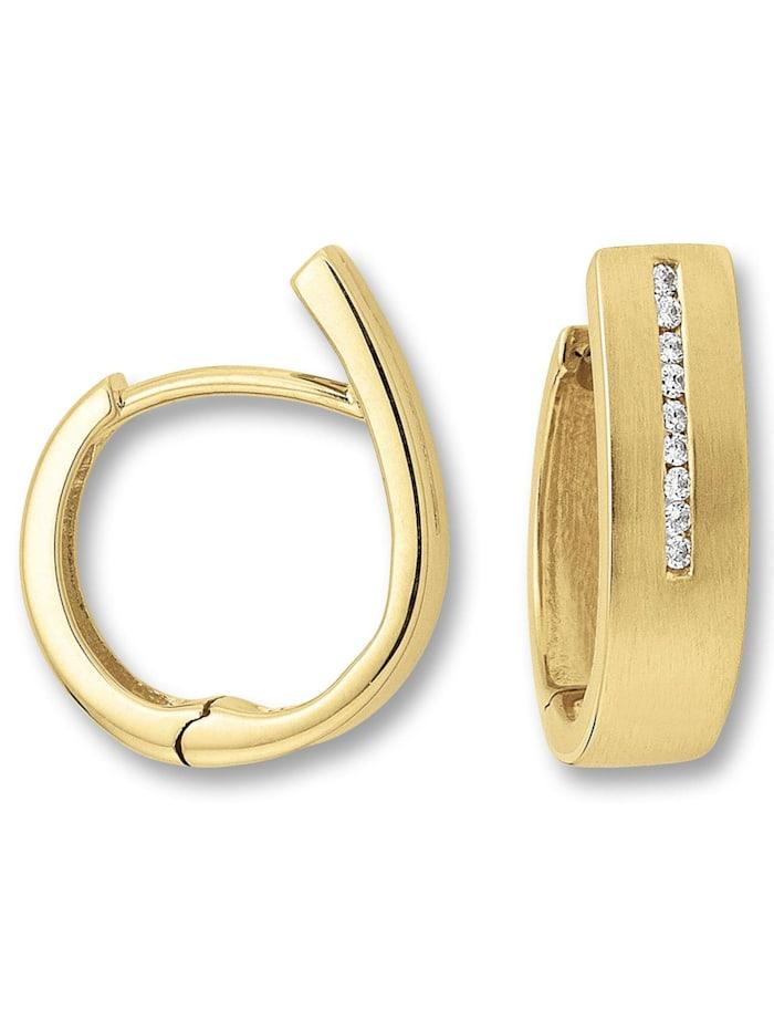 One Element Damen Schmuck Orhringe / Creolen aus 585 Gelbgold mit 0,09 ct Diamant, gold