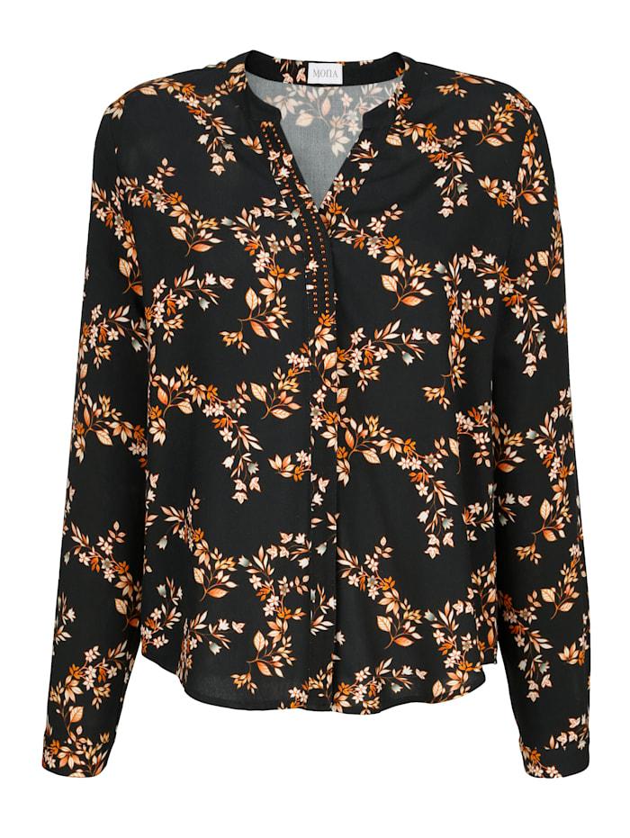 MONA Bluse in floralem Druckmuster, Schwarz/Orange