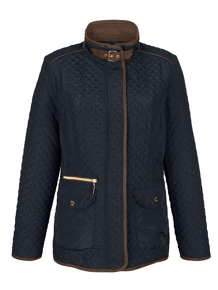 Quilted jacket with faux leather piping