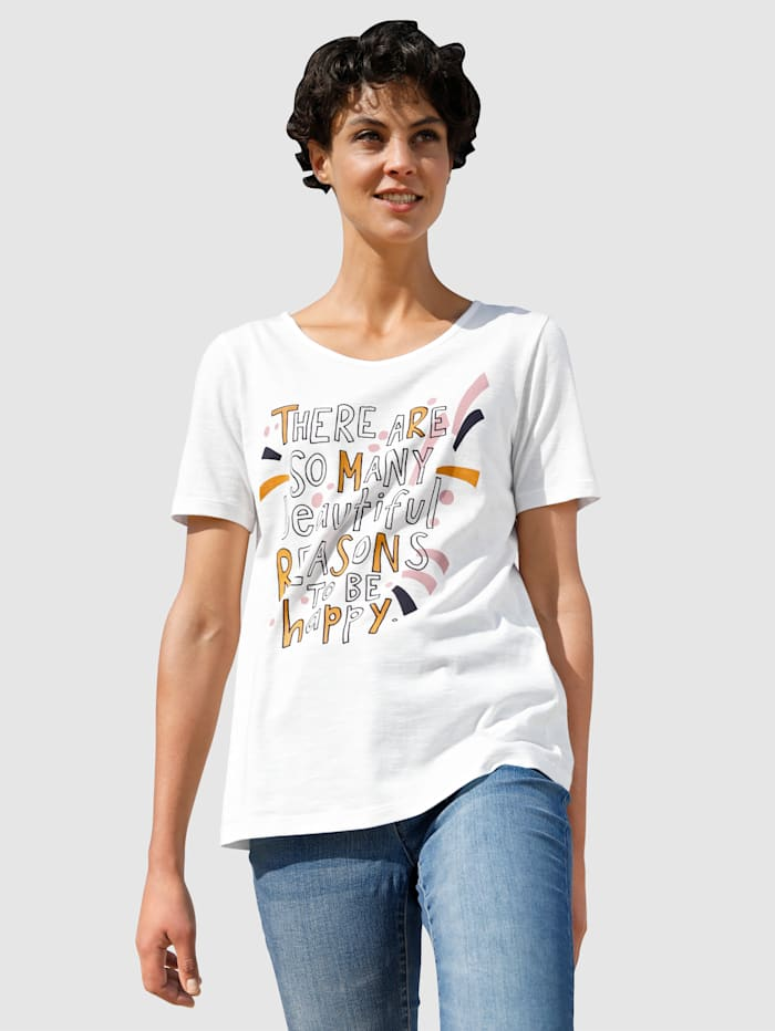 Dress In Shirt mit modernem Druck, Off-white