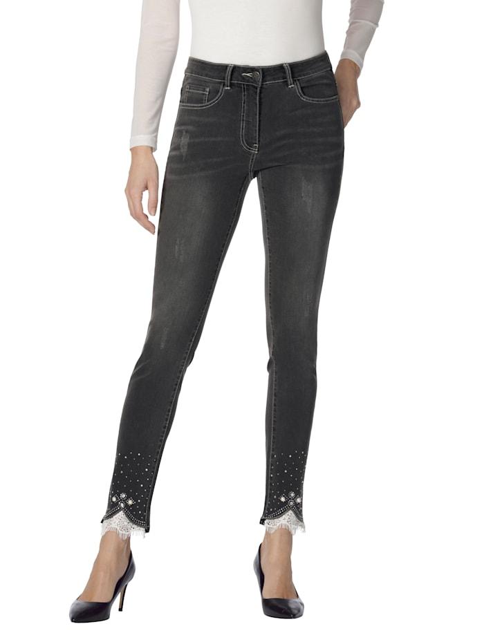 AMY VERMONT Jeans mit Spitze und Strasssteindekoration, Anthrazit