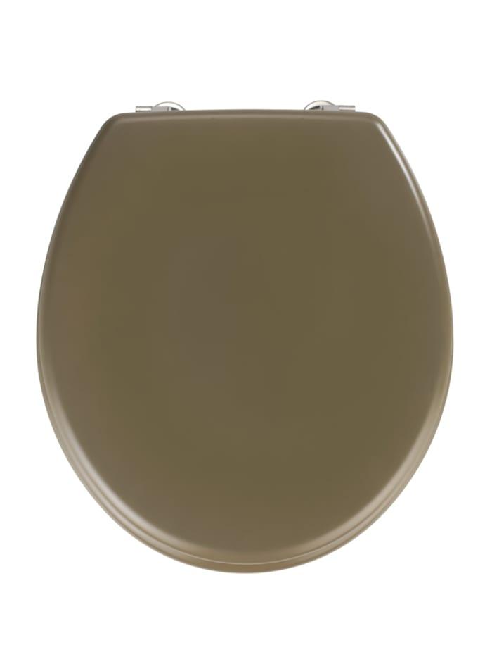 Wenko WC-Sitz Prima in Taupe Matt, MDF, Grau - Taupe, Befestigung: Silber matt