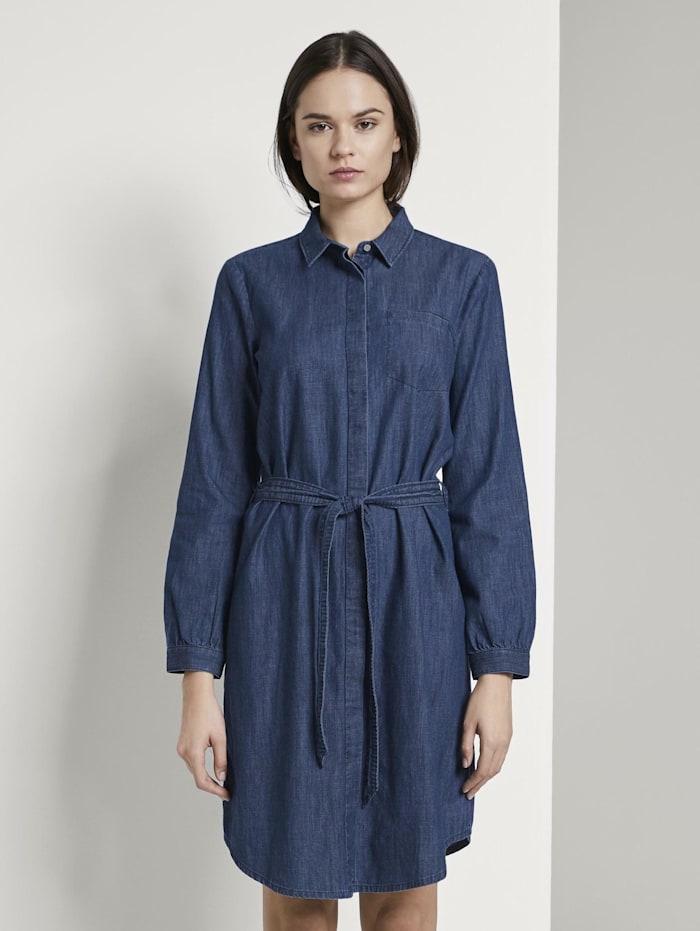 Tom Tailor Mini Jeanskleid mit Bindegürtel, dark stone wash denim