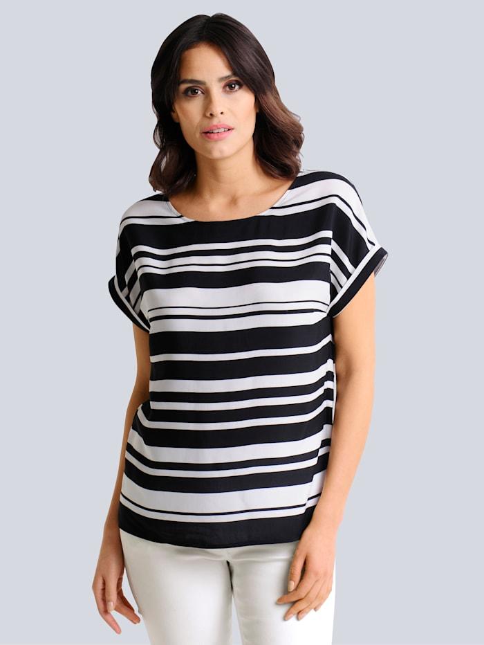 Alba Moda Blusenshirt in schönem Streifendessin allover, Schwarz/Off-white
