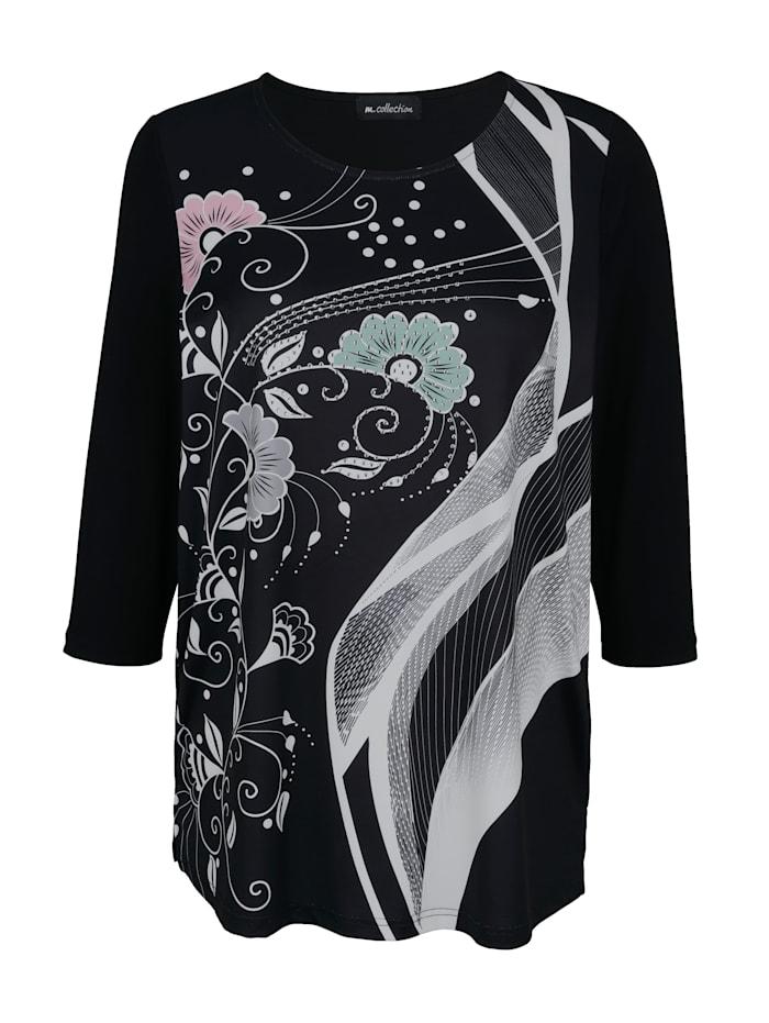 m. collection Shirt mit Strasssteinen, Schwarz/Weiß/Rosé