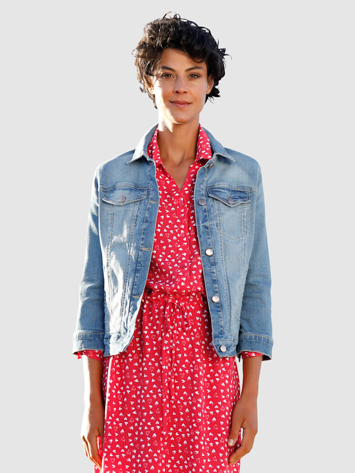 Dress In Veste en jean à délavage mode, Bleu