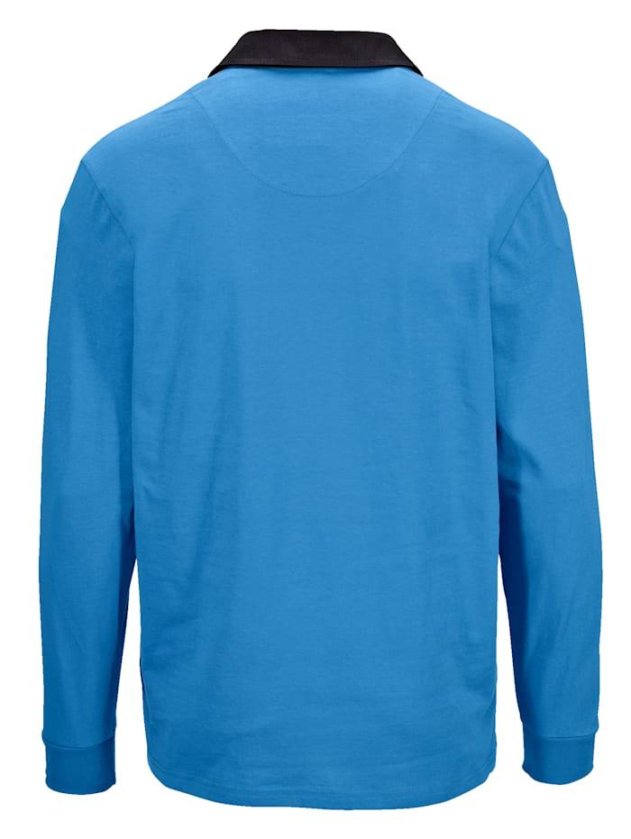 Poloshirt met geruit beleg van weefstof aan de kraag