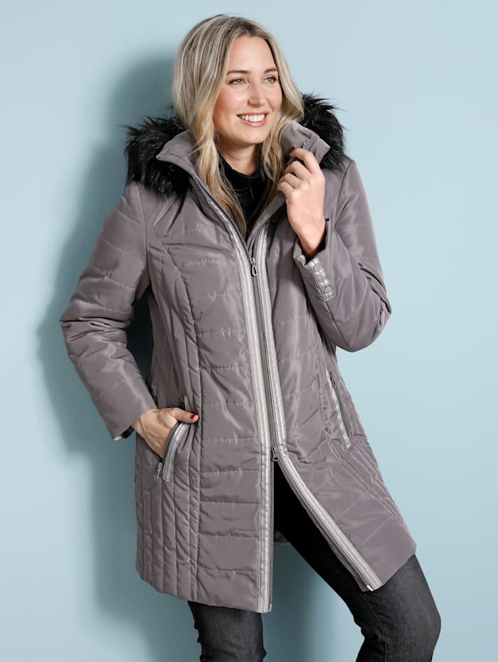 MIAMODA Doorgestikte mantel met contrastkleurig imitatiebont, Grijs/Zwart