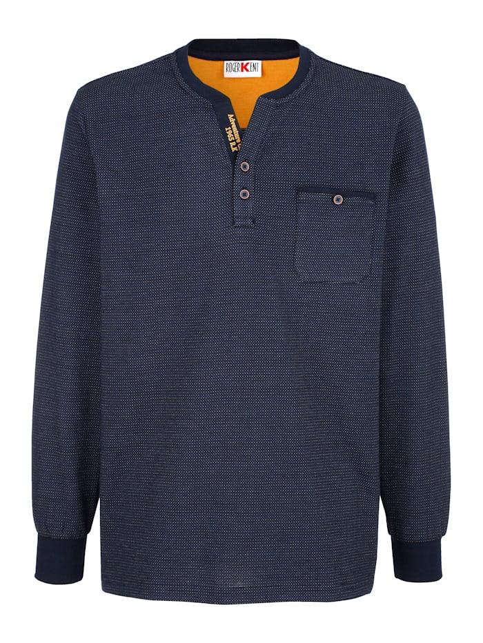 Roger Kent Shirt met handige borstzak, Marine/Geel