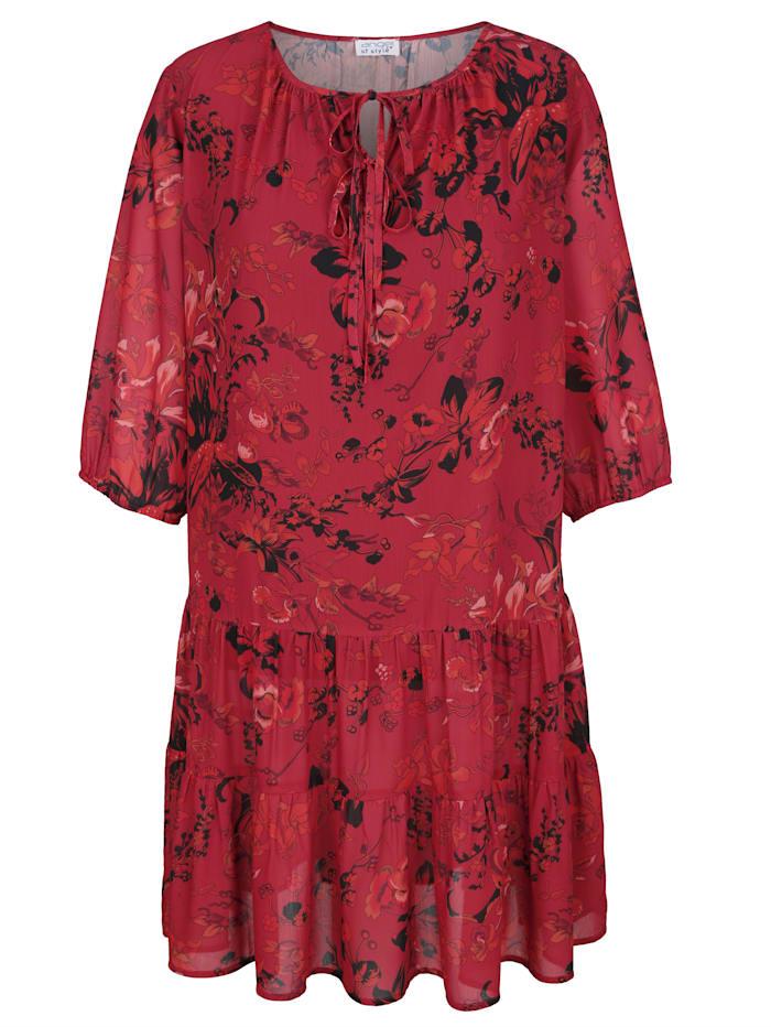 Sara Lindholm Kleid mit Blumendruck, Rot/Schwarz