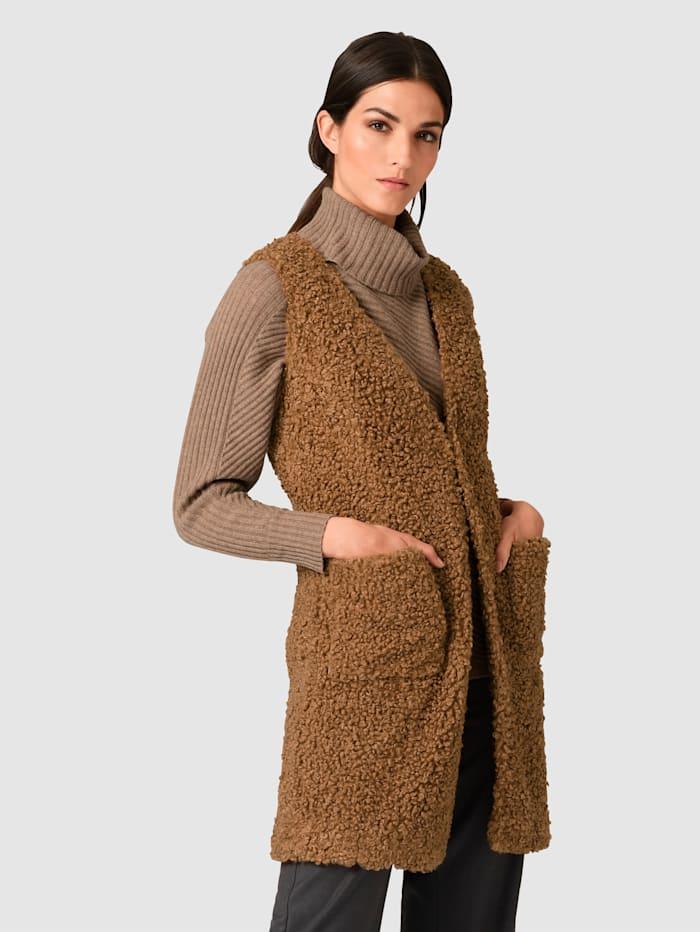 Alba Moda Imitatiebontgilet van zacht materiaal, Camel