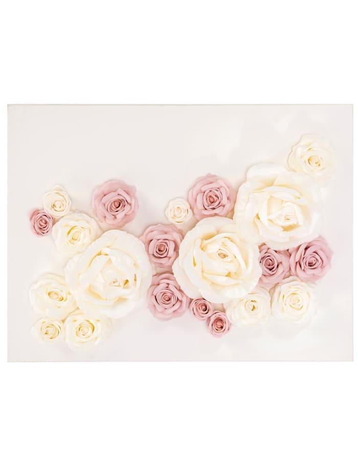 MARAVILLA Wand-Deko, Blumen, creme/rosé
