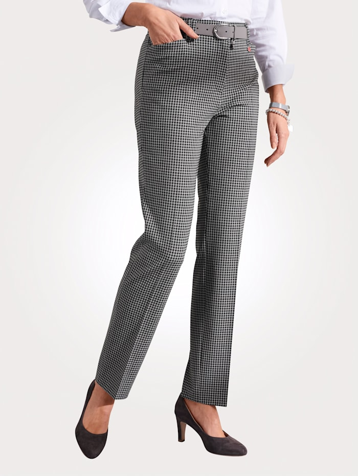 Relaxed by Toni Trousers with a houndstooth pattern, Black/Taupe