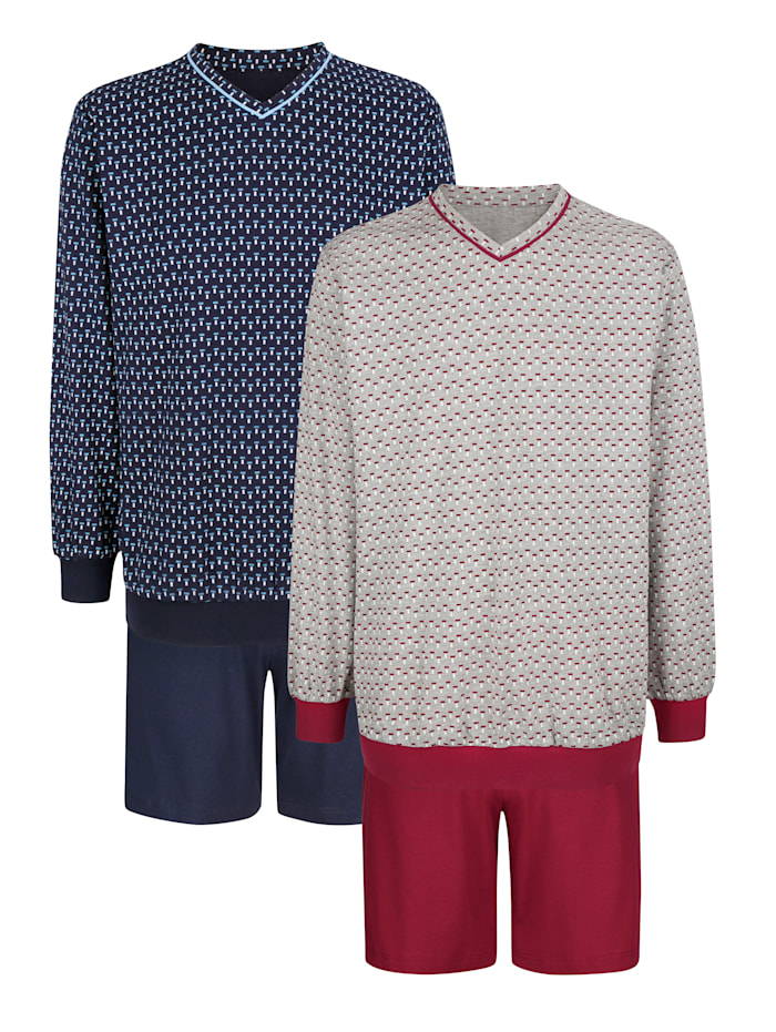Roger Kent Pyjama's per 2 stuks, Marine/Bordeaux