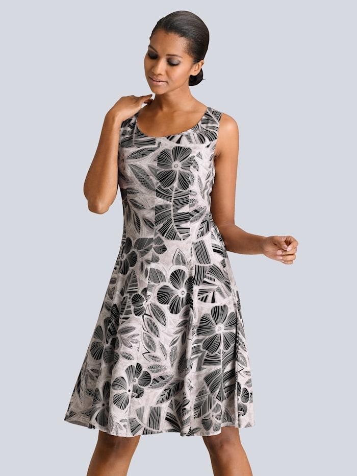 Alba Moda Kleid aus hochwertiger Viskose-Ware, Taupe/Schwarz