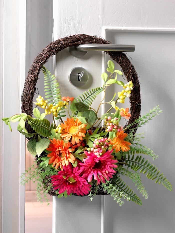 IGEA Wand-/Türhänger Rattankorb mit Blüten, Bunt