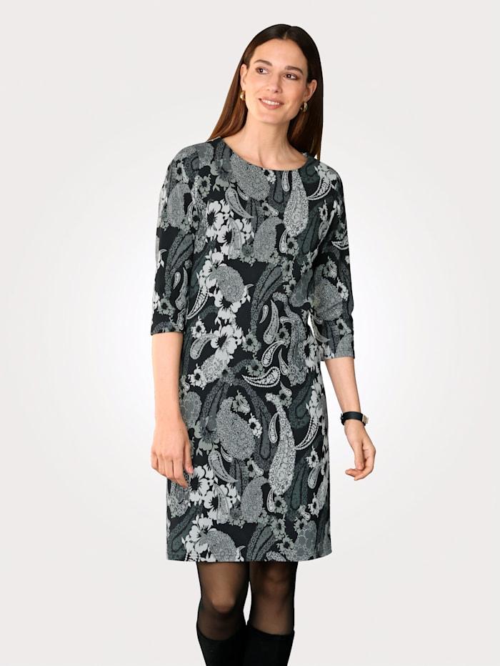 MONA Jersey jurk met print in harmonieuze kleuren, Zwart/Wit/Grijs