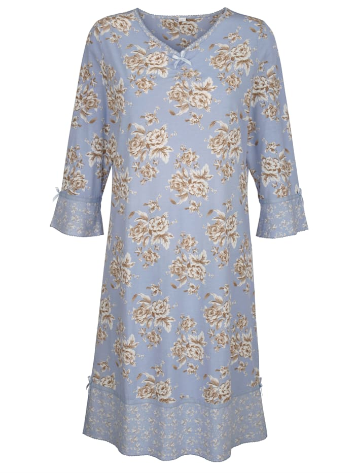 Simone Nachthemd im floralen Mustermix, Hellblau/Ecru/Creme-Weiß
