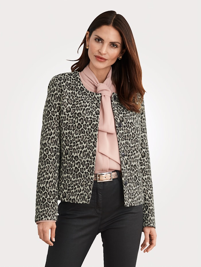 MONA Blazer made from jacquard with shimmering thread, Black/Rosé