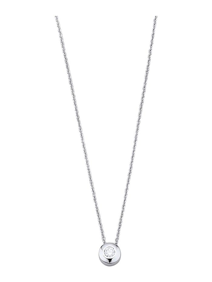 Diemer Highlights Valkokultainen timanttiriipus ja kaulaketju, Hopeanvärinen