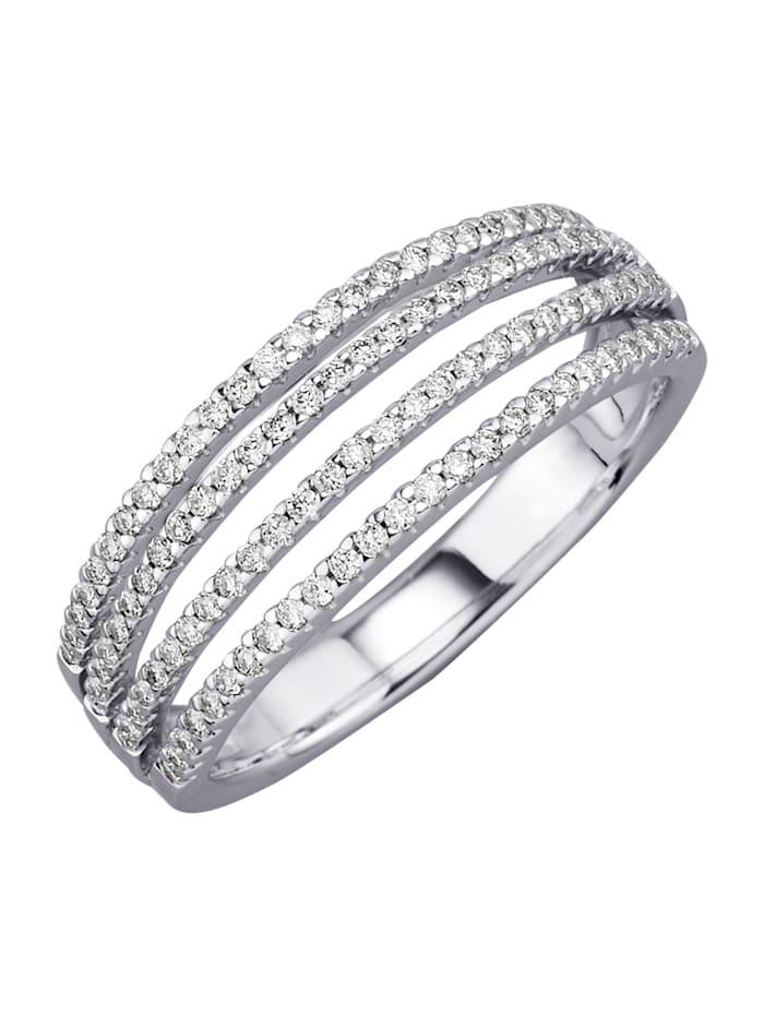 Diemer Diamant Damesring van 14 kt. witgoud, Wit