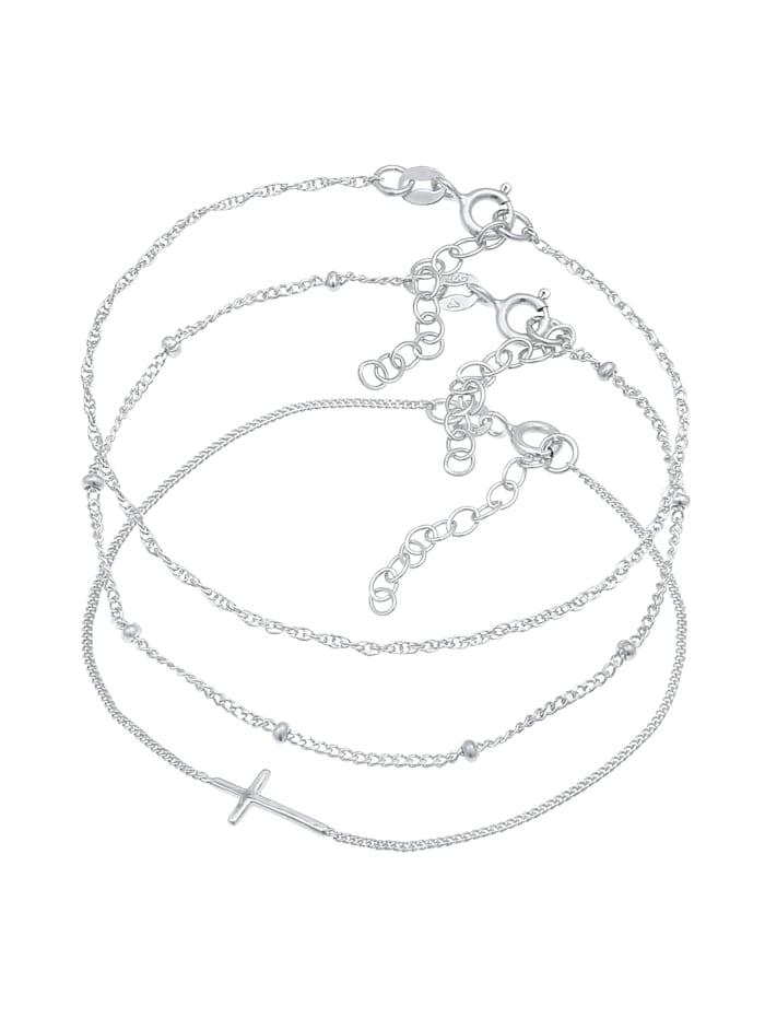 Armband Gedreht Kugel Kreuz Design 3Er Set 925 Silber