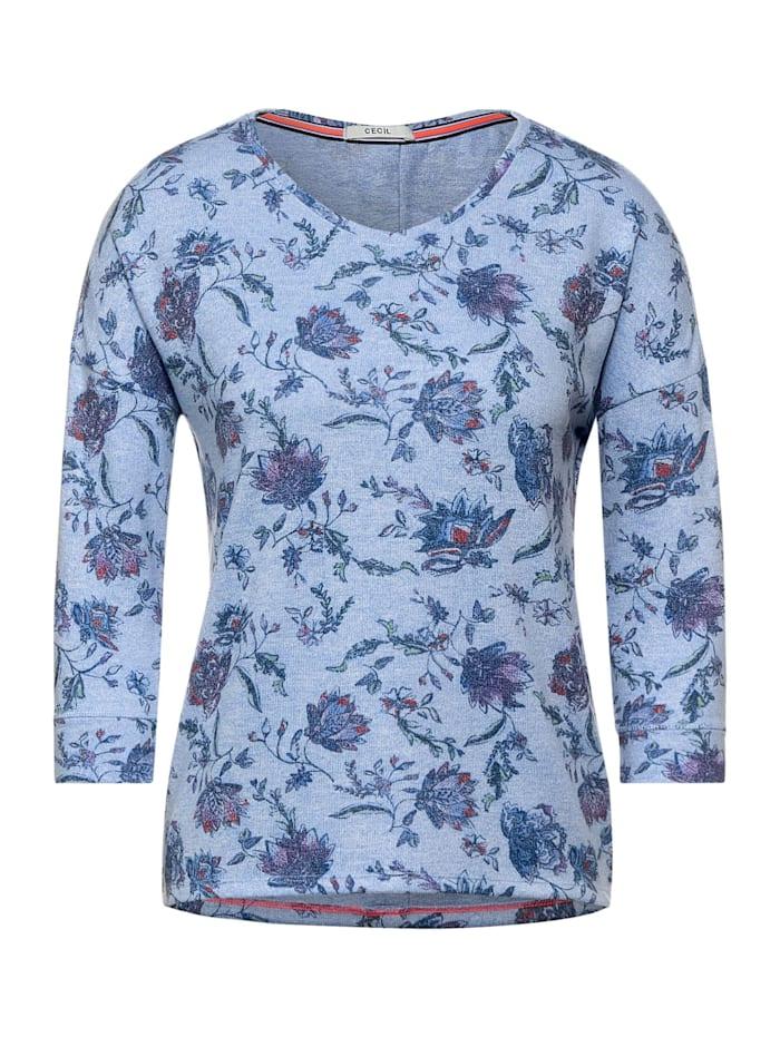 Cecil Cosy Shirt mit Blumenmuster, light blue melange