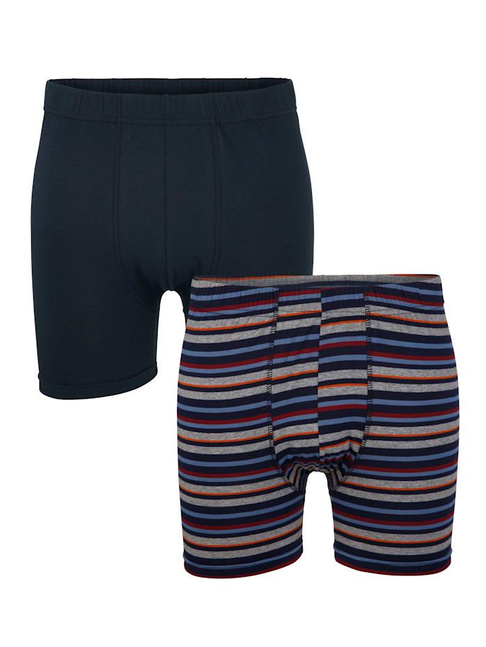 Boxershort zonder gulp 2 stuks, 1x marine, 1x marine/grijs/rood