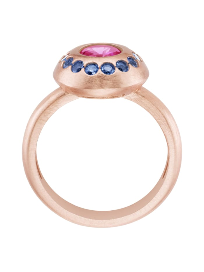 Ring mit fuchsia Zirkonia und blauen Kristallsteinen, Silber 925