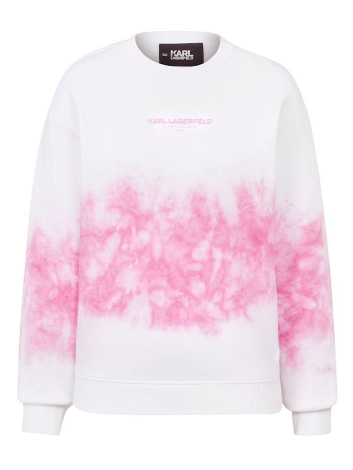 Karl Lagerfeld Sweatshirt mit Batik-Muster, Weiß