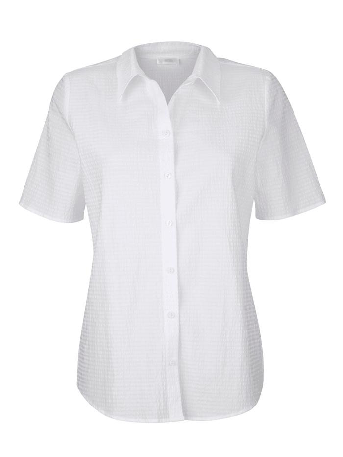 MONA Bluse in Seersucker-Qualität, Weiß