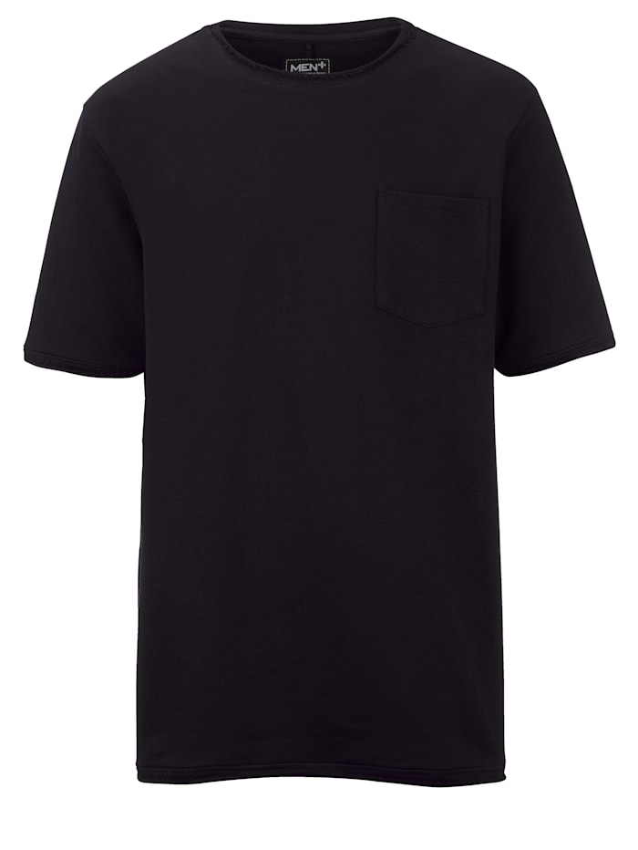 Men Plus Kurzarmsweatshirt, Schwarz