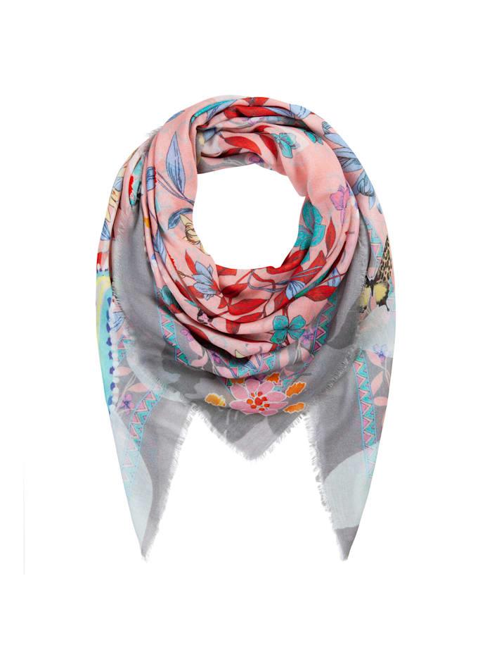 Codello Softweiches Flower-Tuch aus Baumwolle und Modal, light pink
