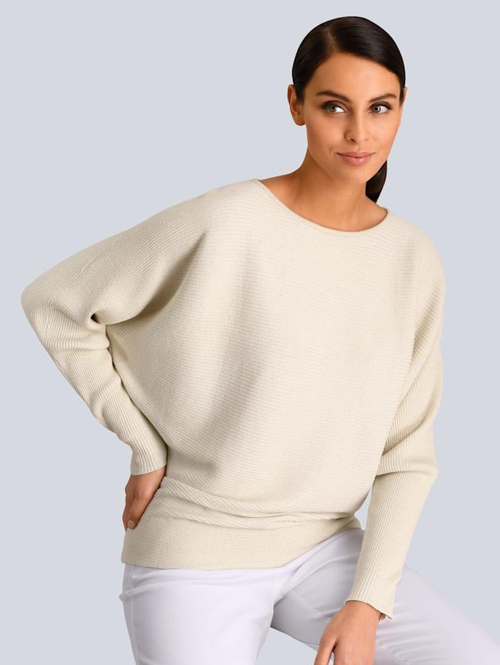 Alba Moda White Pullover dezent mit Glanzgarn gearbeitet, Weiß