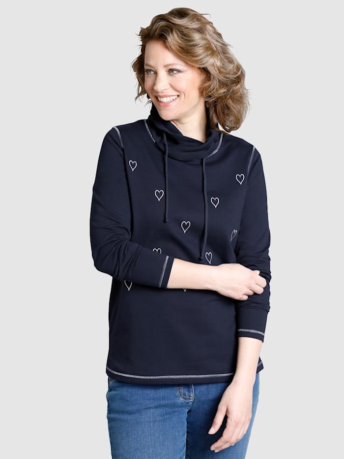 Sweatshirt met brede kraag en bindbandje