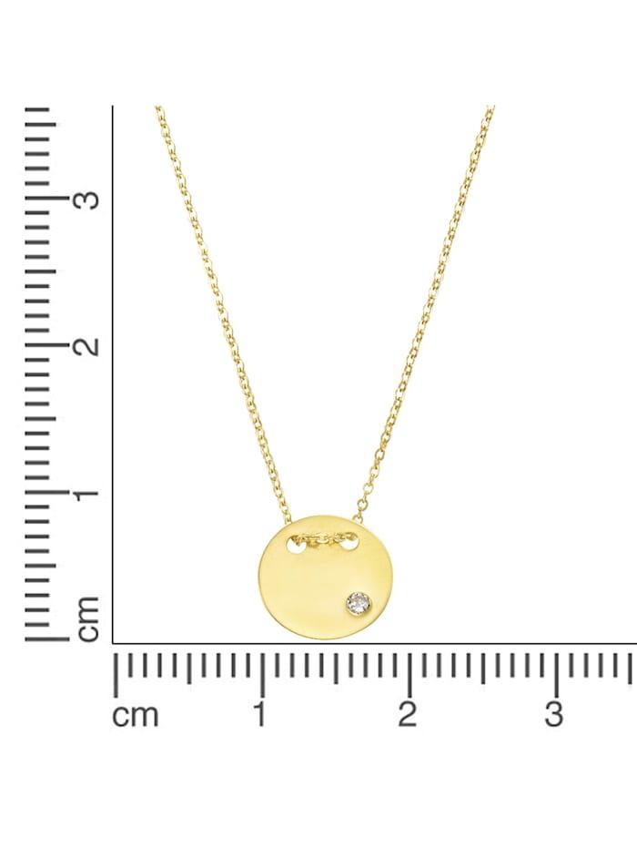Collier 375/- Gold Zirkonia 42cm Glänzend