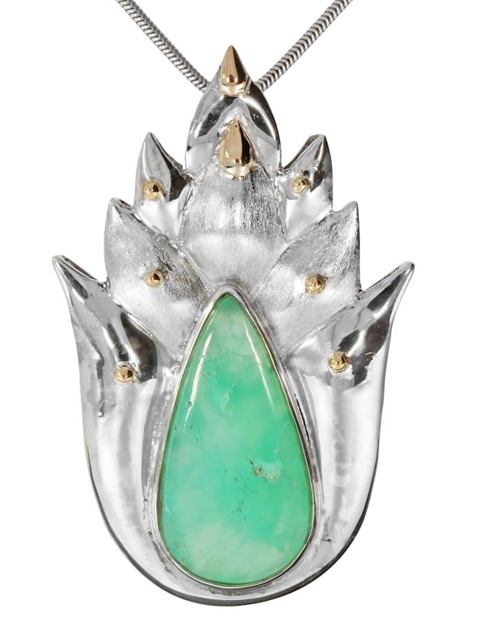 1001 Diamonds Damen Schmuck Edelstein Chrysopras Anhänger 925 Silber bunt, bunt