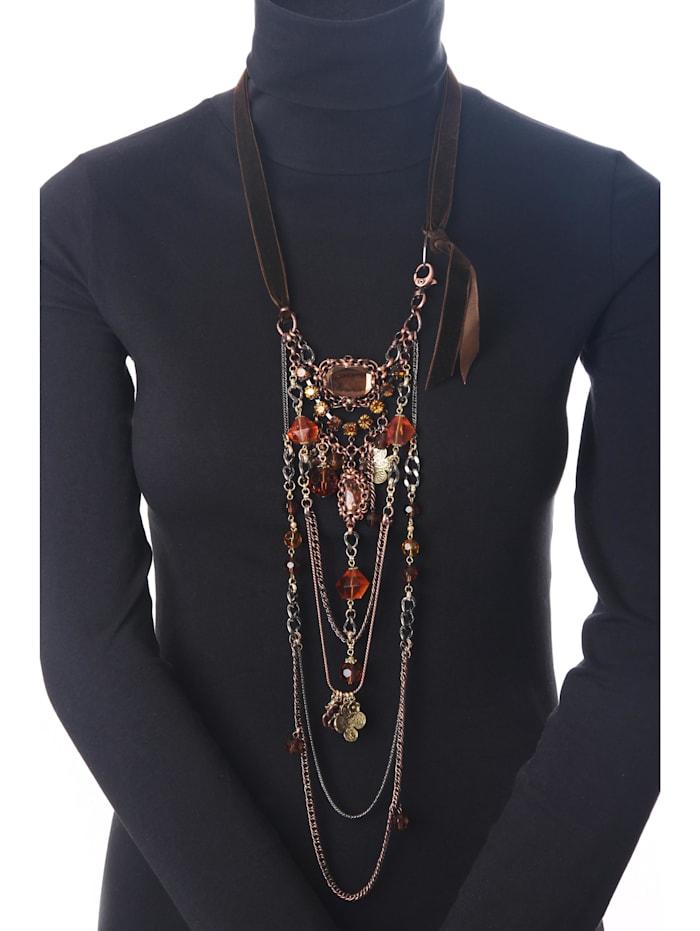 Lange Kette Corin mit Glassteinen und -perlen