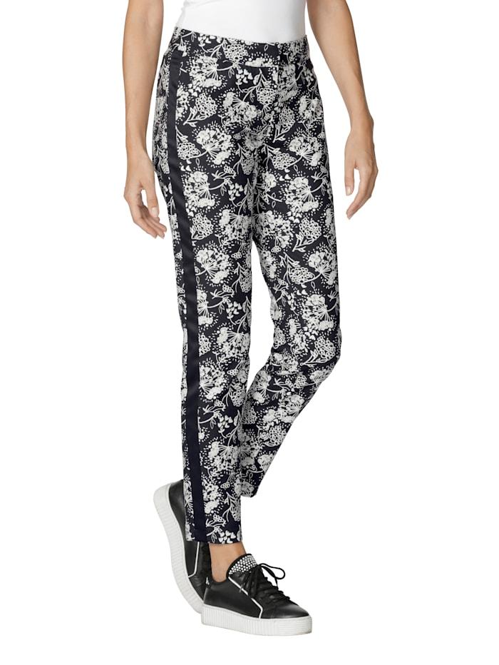 AMY VERMONT Pantalon à empiècements côtés, Noir/Blanc