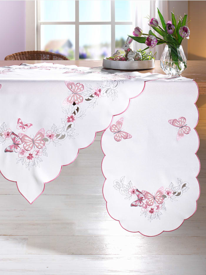 Webschatz Tafellinnen Lia, champagne/roze