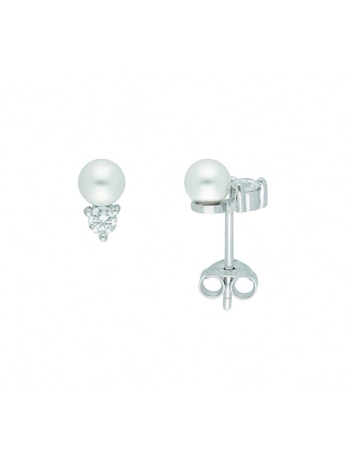 1001 Diamonds Damen Silberschmuck 925 Silber Ohrringe / Ohrstecker mit Zirkonia Ø 5 mm, natur