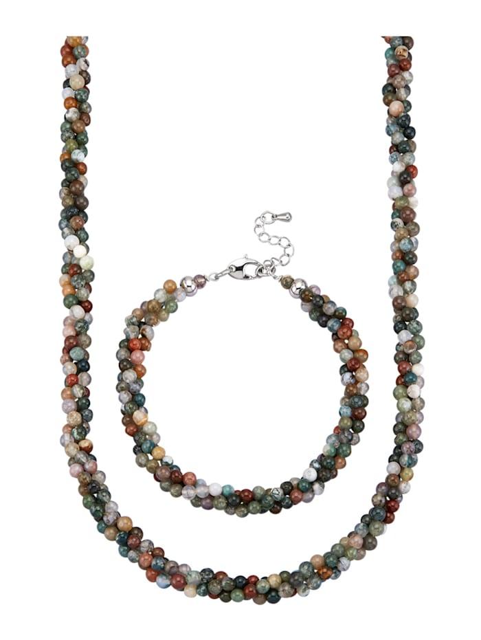 Halsband & armband av agatkulor, Grön