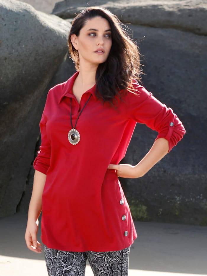 MIAMODA Longshirt mit seitlichen Dekoknöpfen, Rot