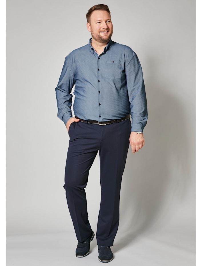 Men Plus Overhemd van strijkarm materiaal, Marine/Lichtblauw