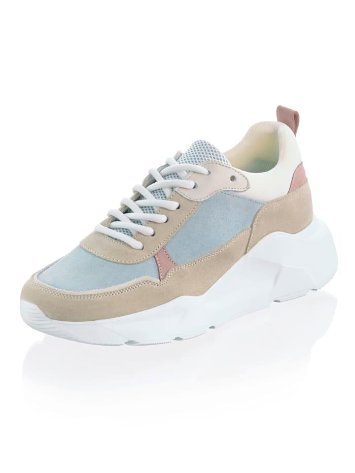 Alba Moda Sneaker aus Rindsleder mit Textileinsätzen, Beige/Hellblau/Rosé