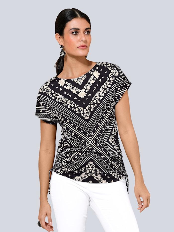 Alba Moda Shirt mit überschnittener Schulter, Schwarz/Off-white/Taupe