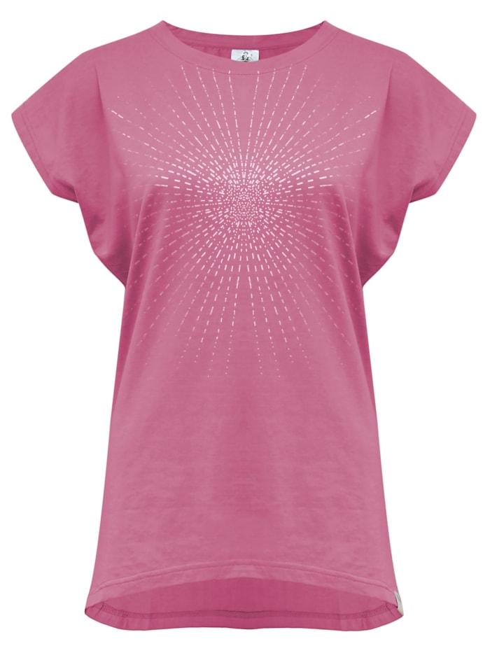 "Yoga-t-shirt ""batwing Sunray"" - Rosewine/silver"